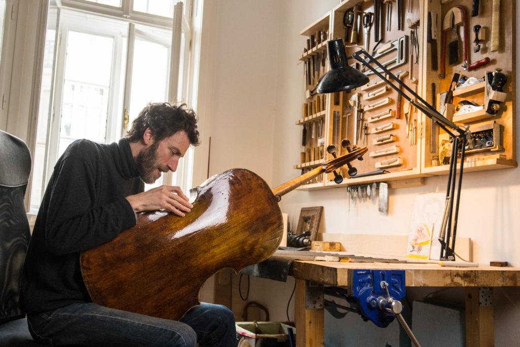 Matthieu Legros violin maker workshop in Brno restoration of a cello from Goffriller